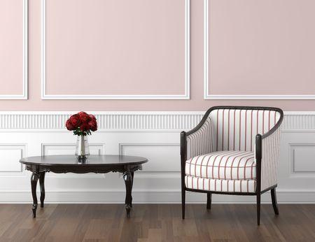 silla: dise�o interior de habitaci�n cl�sica en colores blancos y rosas p�lidos con tabla silla y rosas, espacio de copia en la mitad superior