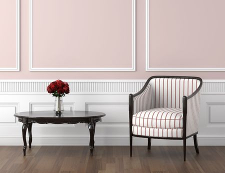 interior design of classic room in pale pink and white colors with chair table and roses, copy space on top half