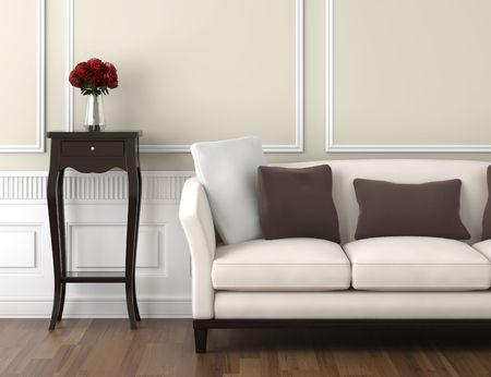 vases: interior design of classic room in beige and white colors with couch table and a vase of roses, copy space on top half
