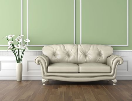 interior design of classic room in green and white colors with couch  and a vase of calla lilly flowers, copy space on top half