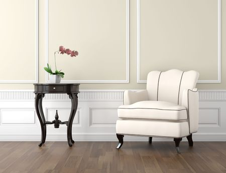 inter design of classic room in beige and white colors with couch table and a vase with orchid, copy space on top half Stock Photo - 8163583
