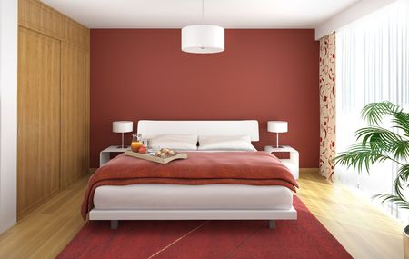 interior design of modern bedroom in red white and wood with a big window on the right
