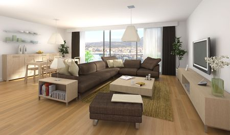 Interior design scene of modern apartment with living room and dinner room in wood and brown colors photo