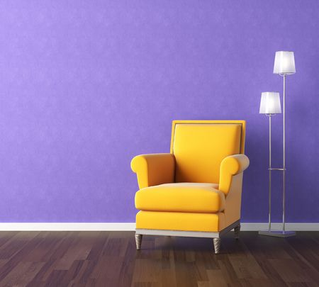 floor lamp: Interior design scene with a modern yellow couch and lamp on violet wall, copy space on the wall