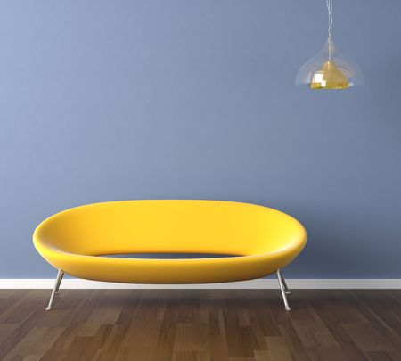 Interior design scene with a modern yellow couch and lamp on blue wall, copy space on the wall photo