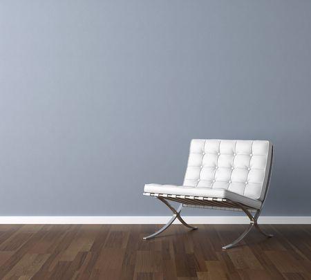 silla: Escena de dise�o interior con una moderna silla blanca y la l�mpara de pared azul, espacio de copia en la pared  Foto de archivo