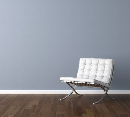 white leather: Interior design scene with a modern white chair and lamp on blue wall, copy space in the wall
