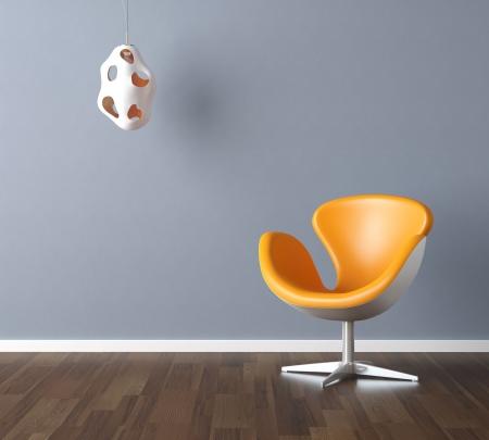 Escena de diseño interior con una moderna silla amarilla y la lámpara en la pared azul pálida, espacio de copia en la pared  Foto de archivo
