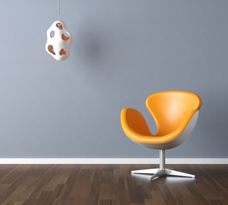Interior design scene with a modern yellow chair and lamp on pale blue wall, copy space in the wall