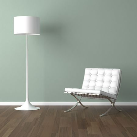 decor: interior design scene with a white modern chair and lamp on a pale green wall