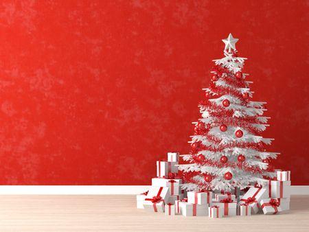 los árboles de Navidad de rojo y blanco decorado con muchos regalos en una pared de Roja vibrante para el fondo, copia de espacio a la izquierda  Foto de archivo