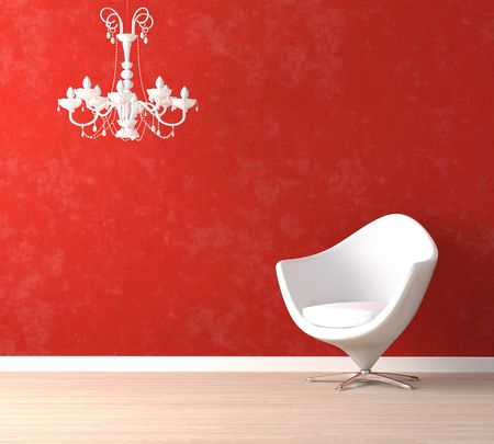 Interior design scene with a modern white armchair and retro lamp on vibrant red wall Stock Photo