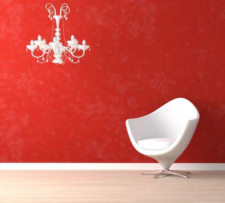 interior decor: Interior design scene with a modern white armchair and retro lamp on vibrant red wall Stock Photo