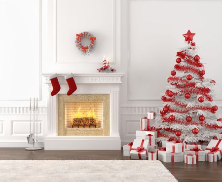christmas fireplace: modern style interior of fireplace with christmas tree and presents in white and bright red