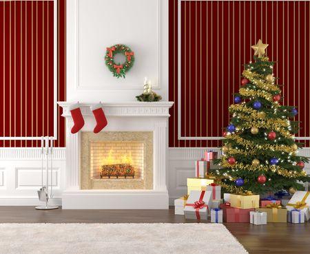 camino natale: interno tradizionale ed elegante con camino, albero di Natale, regali e calze Archivio Fotografico
