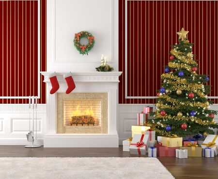 traditional and stylish interior with fireplace, christmas tree, presents and stockings photo