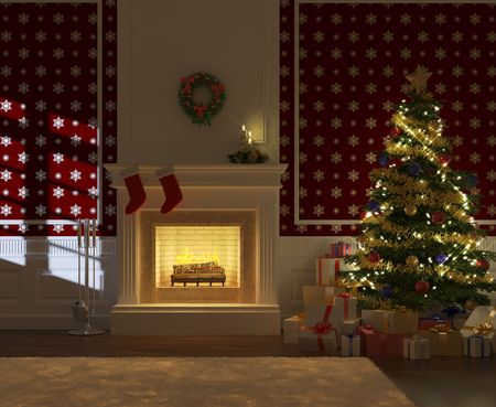 cozy decorated christmas fireplace at night with tree and presents frontal view photo