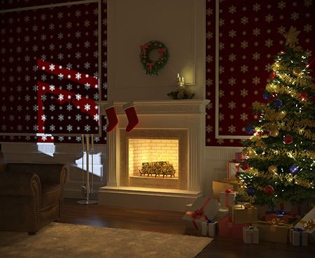 cozy decorated christmas fireplace at night with tree, presents and santa claus silhuette on the wall photo