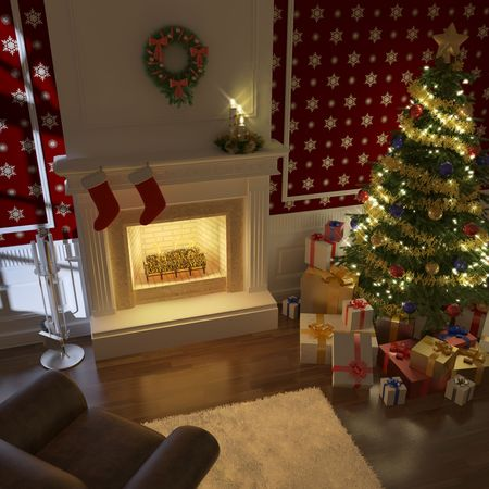 cozy decorated christmas fireplace at night with tree, presents and couch photo