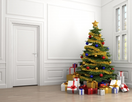 copy room: decorated christmas tree with lots of presents in an empty white classic room with copy spade on the left Stock Photo