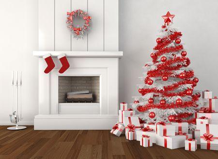 camino natale: interno di casa moderna con camino e albero di Natale nei colori bianchi e rossi