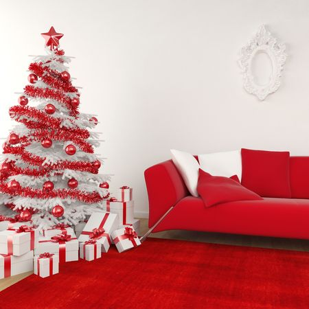 Modern interior christmas scene with white tree decorated and red coouch