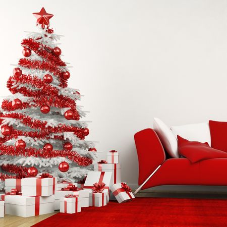 christmas tree in modern interior all in white and red colors photo