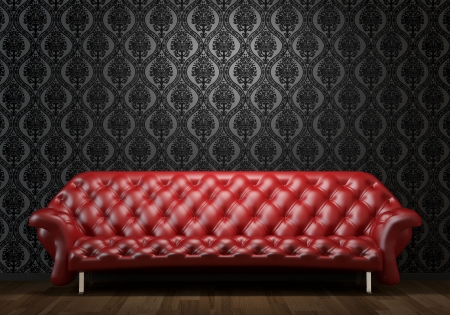couch: interior design scene of red leather couch on black wall illuminated from abobe by spotlight