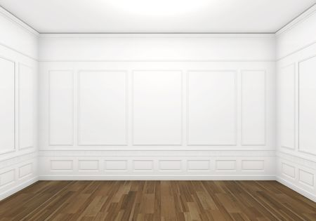 classic white empty room with wood floor, frontal view with big copy space