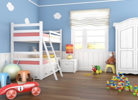 bunkbed: Childrens  room in blue walls with bunkbed and lots of toys on the floor Stock Photo