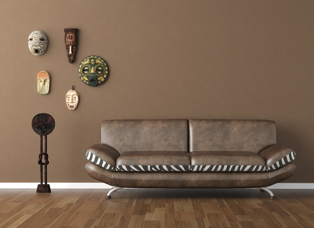 decor: interior design scene of brown wall with couch and tribal masks copy space on top