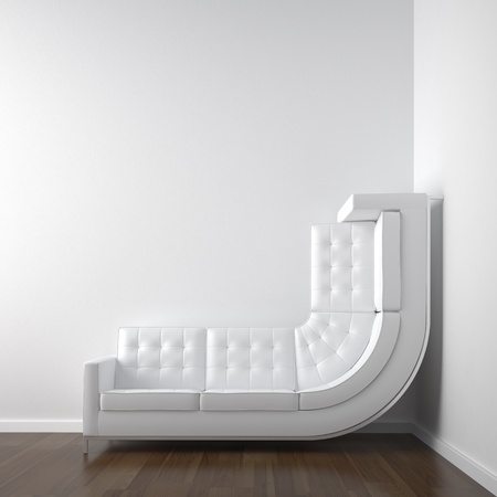 couch: white interior design with a bended couch in a corner room climbing up the wall with plenty copy space. Stock Photo