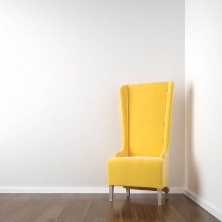 wall decor: interior scene of clean white corner room with red chair copy space on the wall