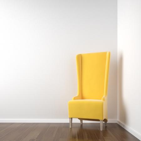 Stuhl: Interior Szene der sauberen wei�en Eckzimmer mit roten Stuhl textfreiraum an der Wand