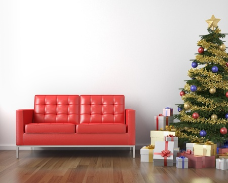 red couch and christmas tree with presents in a white clean room with copy space