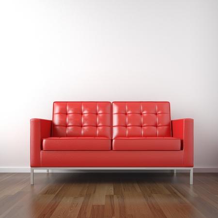 divano: rovesciato del divano in pelle rossa in una camera bianca