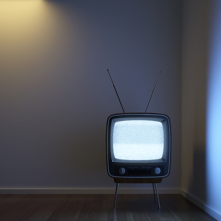 emphasize: a single retro TV in a corner room showing signal noise with dramatic lighting setup to emphasize the concept of loneliness