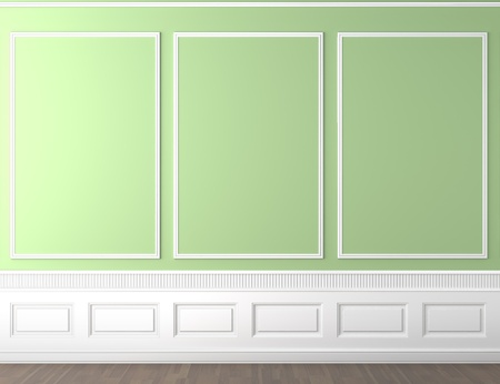 interior scene of empty green and white classic wall with copy space Stock Photo