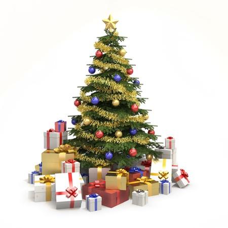 Los árboles de Navidad completamente decorado con muchos presenta y aislados en fondo blanco Foto de archivo