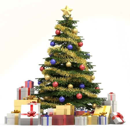 Fully decorated christmas tree with many presents and isolated on white background