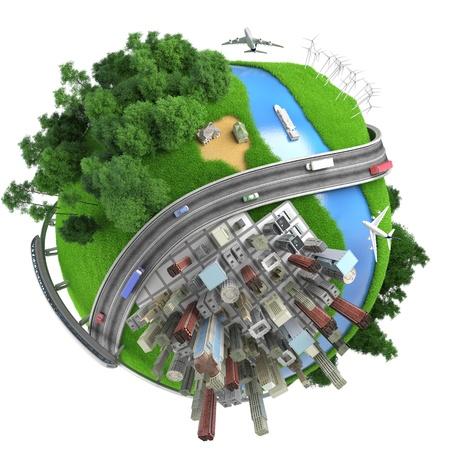 zeměkoule: Koncepce miniaturní zeměkoule ukazuje různé způsoby dopravy a životního stylu na světě, izolovaných na bílém pozadí