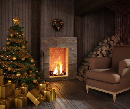 rustic christmas fireplace at night with tree, presents and couch photo