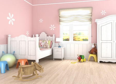 babie: Girlss  room in pink walls with bed and toys on the floor