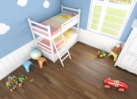 children's  bedroom in blue walls with bunk bed and lots of toys on the floor seen from above