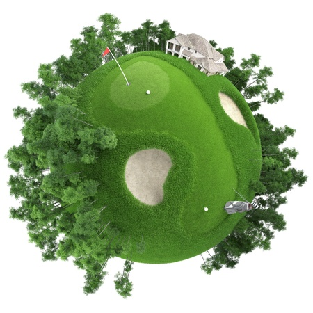 golf: miniature golf planet concept with nice grass course, club house and trees. isolated on white Stock Photo