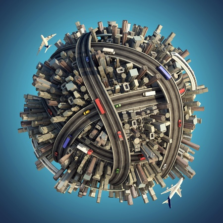 urbanization: Miniature planet as concept for chaotic urban lifestyle