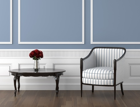 inter design of classis room in blue and white with chair and a vase of roses on the table Stock Photo - 8350421