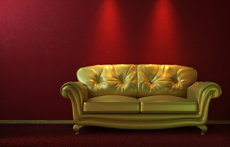 eclectic: interior design of glamorous golden couch on a red wall with copy space on top Stock Photo