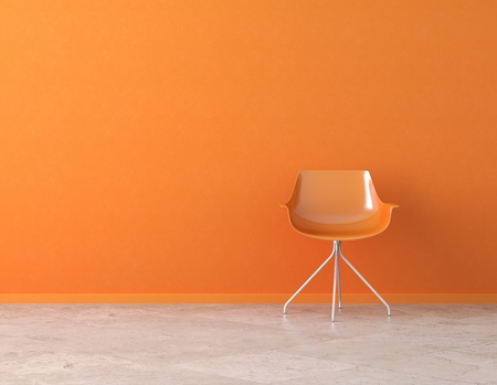 orange simple interior with chair and copy space on the wall