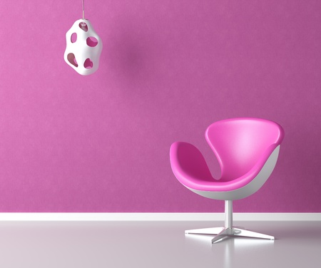 pink simple interior with chair lamp and copy space on the wall